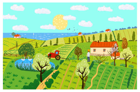 Spring rural landscape farm house, green fields, hills, blooming trees. Countryside panoramic nature, barn, tractor, farmer. flowers. Vector doodle illustration poster banner 向量圖像