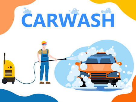 Car Wash center station landing. Auto Service man worker washing, clean car, foam bubbles. Vector illustration isolated 向量圖像