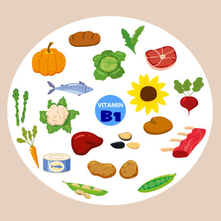 Set of Vitamin C origin natural sources. Healthy diary food, thiamine, fruits, greens, vegetables, fish, nuts, meat, bread. Organic diet products, natural nutrition collection. Vector flat