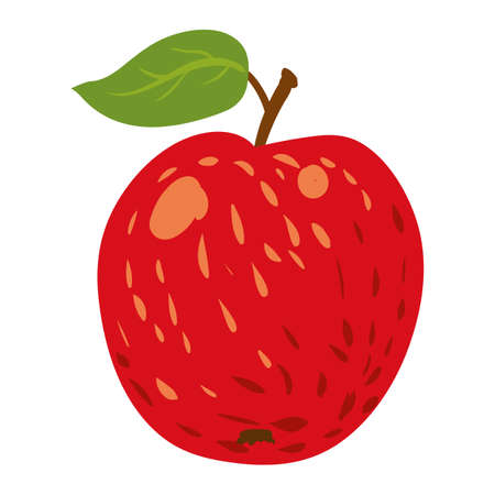 Apple red fruit, healthy organic nutrition product. Vector cartoon flat trendy illustration hand drawn isolated 向量圖像