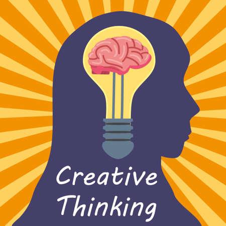 Light Bulb Creative Thinking symbol brain inside. Head woman, creative idea, mind, solution, creativity. Vector illustration flat isolated