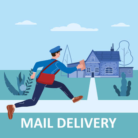 Postman running with bag delivering letter in envelope for house to address. Mailman in uniform carrying mail, delivery service. Vector illustration 向量圖像
