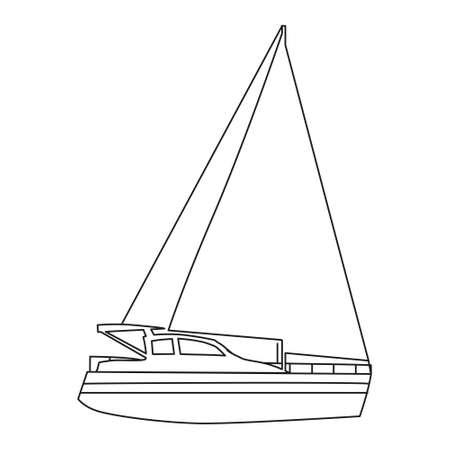 Sailboat line icon   design marines, speedboat, ship, vessel, side view. Vector illustration outline simple element symbol 向量圖像