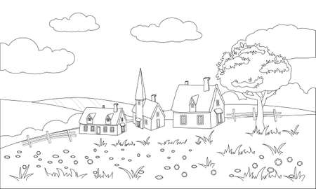Farm buildings rural landscape coloring book for kid. Countryside view, vector illustration line cartoon