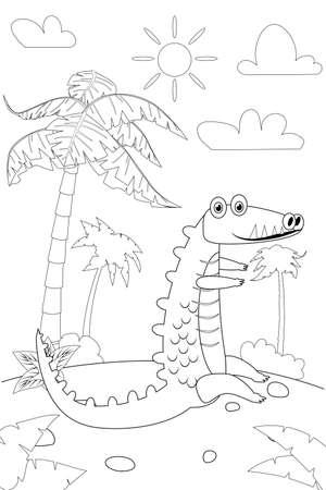 Jungle, Africa safari animal Crocodile coloring book educational illustration for children. Vector white black cartoon outline illustration