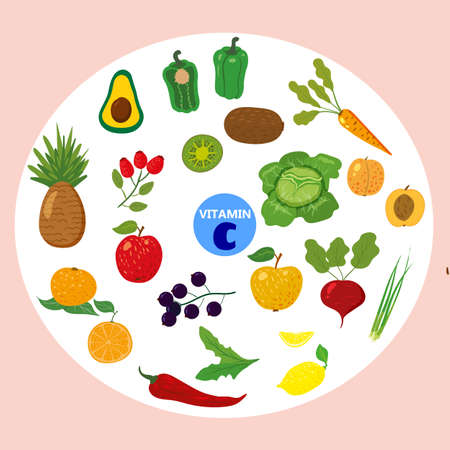 Set of Vitamin C origin natural sources. Healthy diary rich ascorbic acid, fruits, vegetables,berries. Organic diet products, natural nutrition collection. Vector flat cartoon illustration isolated
