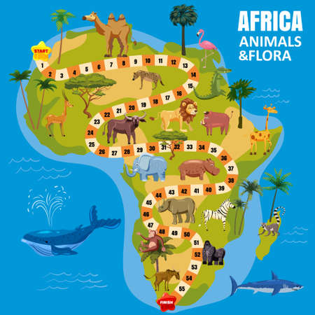 Africa continent map board game with set tropical animals, jungle flora for kids. Vector cartoon illustration Vectores