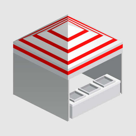 Isometric market stall, tent. Street awning canopy kiosk, counter, white red strings for fair, street food, market, grocery goods. Vector isolated