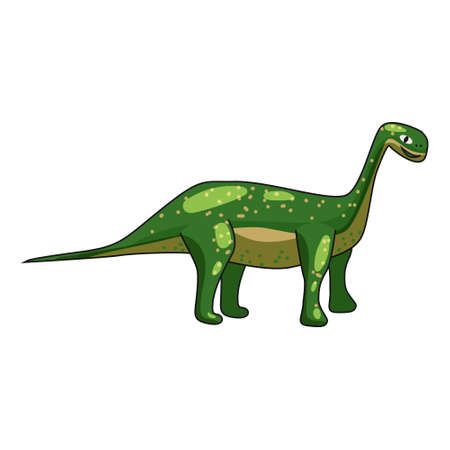 Funny prehistoric Brontosaurus dinosaurus. Ancient wild monsters reptiles cartoon style. Vector isolated