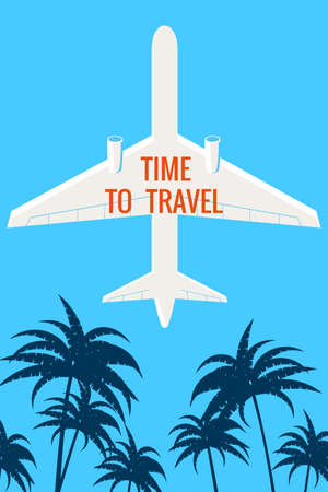 Plane in the sky, palms. Time to Travel Vintage Summer Holiday poster, banner. Vector illustration flat style retro Vectores