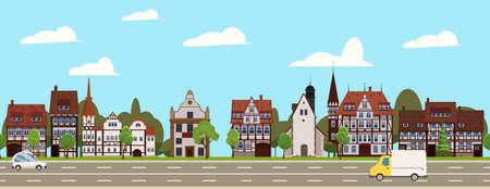 City landscape seamless horizontal illustration. Cityscape historical Center, suburban houses, downtown. Vector cartoon style