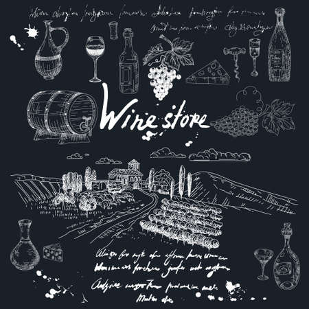 Collection Wine store products and vineyard hand drawn scetch. Grapes, wooden barrel, bottles,chees, glass, corkscrew vintage style unreadable text. Vector illustration black background Vectores