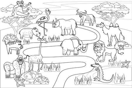Jungle, Africa safari animals coloring book edicational illustration for children. Set cute lion, crocodile, monkey, elephant, camel, rhinoceros, gorilla, hyppo. Vector white black cartoon outline