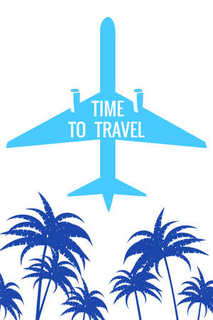 Retro poster Plane in the sky, palms. Time to Travel Vintage Summer Holiday poster, banner. Vector illustration flat style Vectores