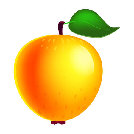 Apple ripe fruit whole fresh organic, yellow color, icon. Vector illustration symbol icon cartoon Vectores