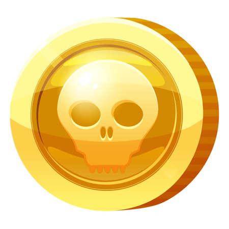 Gold Medal Coin Scull symbol. Golden token for games, user interface asset element. Vector illustration