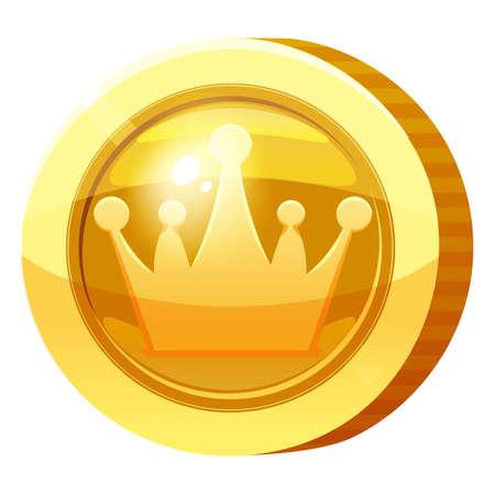 Gold Medal Coin Heart symbol. Golden token for games, user interface asset element. Vector illustration