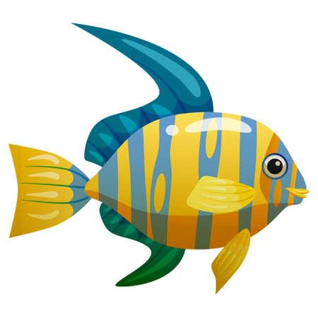 Tropical yellow blue fish, coral reef exotic pet animal. Aquarium sea life, vector illustartion cartoon style Vectores