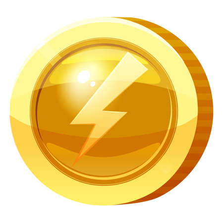 Gold Medal Coin Bolt Lightning symbol. Golden token for games, user interface asset element. Vector illustration