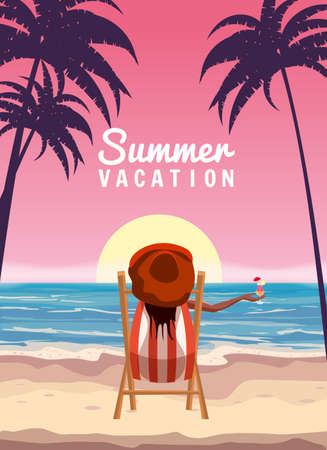 Woman in red hat lying on deck chair with cocktail in hand, resort tropical coast. Exotic sea ocean sunset shore sand, palms. Vector illustration retro vintage poster Vectores