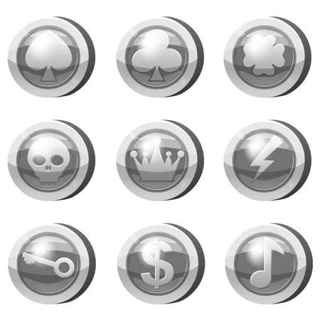 Set of Silver Coins for game apps. Grey icons, heart, crown, symbols game UI, gaming gambling. Vector illustration
