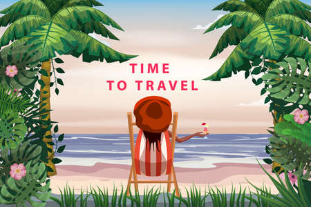 Time To Travel Woman lying on deck chair with cocktail in hand, resort tropical coast. Exotic sea ocean shore sand, palms. Vector illustration retro vintage poster Vectores