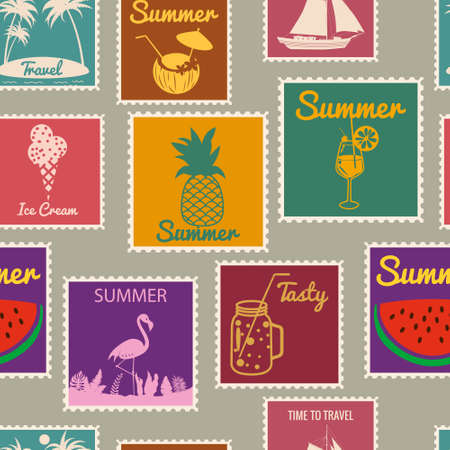 Postage stamps seamless pattern Summer vacation. Retro background signs travel exotic tour. Vector illustration background vintage style