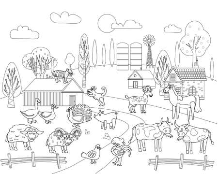 Farm animals coloring book educational illustration for children. Set cute cow, buffolo, sheep, rooster, rural landscape colouring page. Vector black white outline cartoon characters