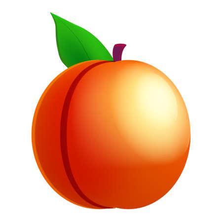 Peach ripe, fruit whole fresh organic, orange color, icon. Vector illustration symbol icon cartoon