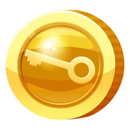 Gold Medal Coin Key symbol. Golden token for games, user interface asset element. Vector illustration