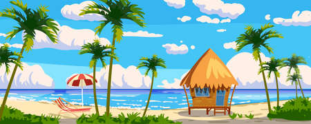 Tropical resort wooden Bungalow for rest, vacation. Modern architecture with exotic palms, sea, ocean, island, beach coastline. Seaview summer landscape. Vector illustration cartoon style