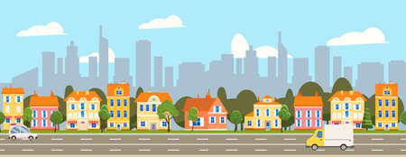 City landscape seamless horizontal illustration. Cityscape skyscrappers, suburban houses, downtown. Vector cartoon style
