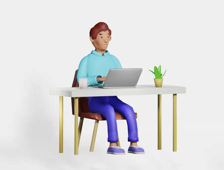 Illustration 3D character man at the desk office, home working using laptop.Smiling character freelancer, businessman working, cartoon style render