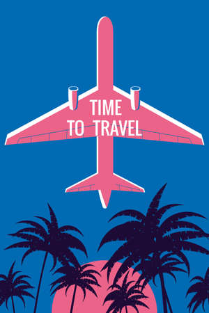 Plane in the sky, palms, sunset. Time to Travel Vintage Summer Holiday poster, banner. Vector illustration flat style retro 向量圖像