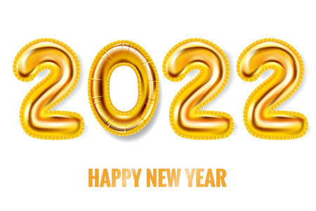 2022 Happy New Year Gold balloons. Gold foil numerals, poster, banner. Vector realistic 3D illustration