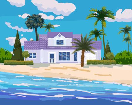 Modern cottage mansion on tropical exotic island coast. Modern villa architecture luxury, ocean, beach, palms and plants, summertime landscape seachore. Vector illustration 向量圖像