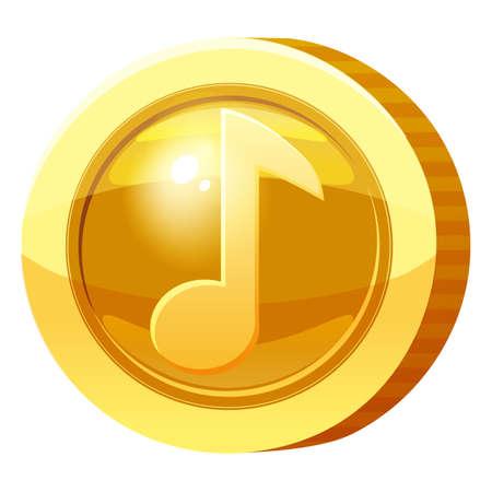 Gold Medal Coin Music Note symbol. Golden token for games, user interface asset element. Vector illustration