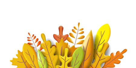 Autumn leaves 3D yellow, red, brown, orange colors. Fall bouquet. Minimal 3d render plasticine, vector illustration banner, poster