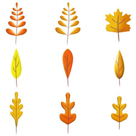 Set Autumn leaves 3D. Fall leaf, minimal 3d render, plasticine, vector