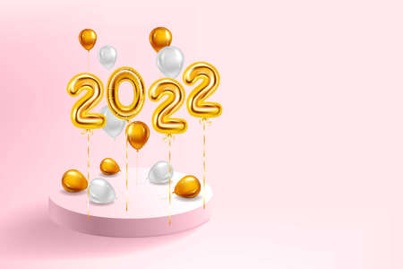 Happy New Year 2022 Gold balloons, stage podium. Golden foil numerals, balloons with, confetti, ribbons, poster, banner. Vector realistic 3D illustration