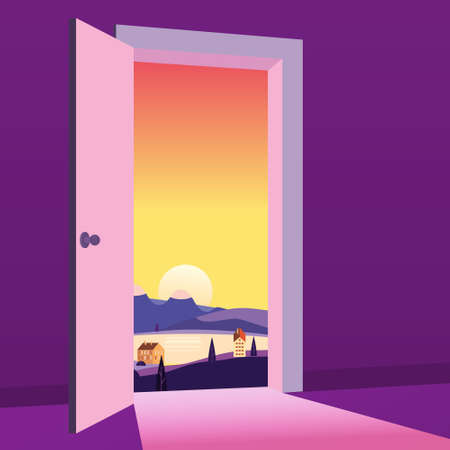Open Door to nature way. Landscape sunset sea town, symbol freedom, new way exit, discovery, opportunities. Motivation concept to real world. Vector illustration cartoon style poster banner
