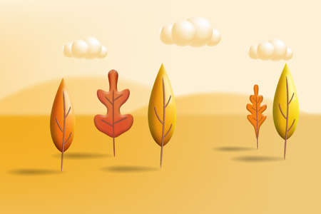 Autumn landscape trees leaves 3D yellow, red, brown, orange colors. Fall nature, clouds. Minimal 3d render plasticine, vector illustration banner, poster 向量圖像