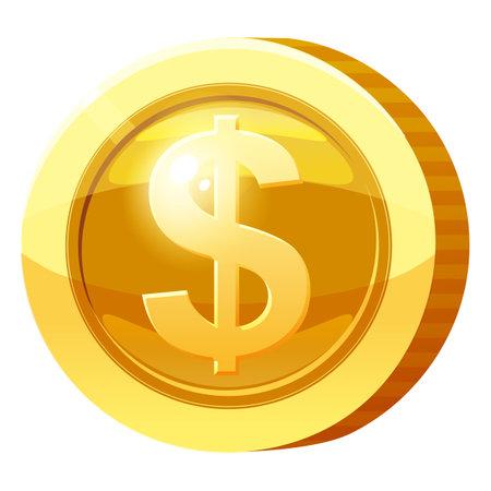Gold Medal Coin Money symbol. Golden token for games, user interface asset element. Vector illustration
