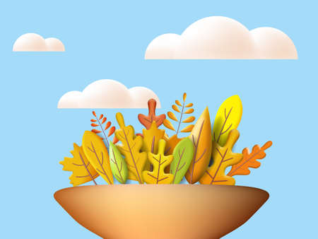 Autumn leaves 3D yellow, red, brown, orange colors. Fall bouquet in vase, white cloud. Minimal 3d render plasticine, vector illustration banner, poster
