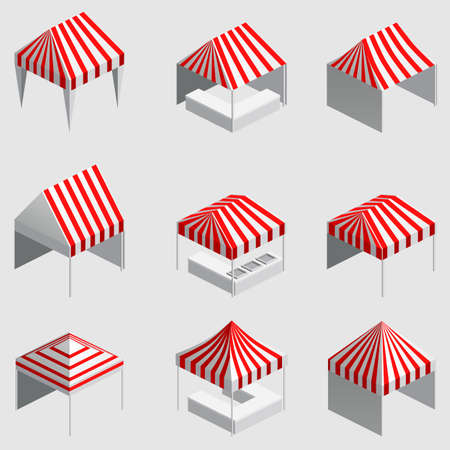 Set Isometric market stall, tent. Street awning canopy kiosk, counter, white red strings for fair, street food, market, grocery goods. Vector isolated 向量圖像