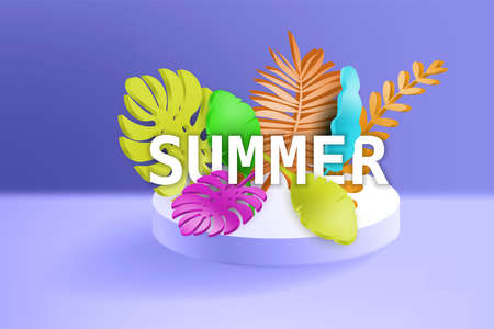 3D Tropical leaves scene podium with text Summer, botanical background. Render vector foliage pedestal, stage illustration template