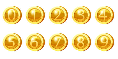 Set Gold Medal Coins Numbers from 0 to 9 symbols. Golden tokens for games, user interface asset elements. Vector illustration