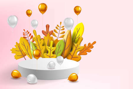 Autumn leaves 3D yellow, red, brown, orange colors. Fall bouquet, pedestal, stage, podium, foil balloons gold, white. Minimal 3d render plasticine, vector illustration banner, poster 向量圖像