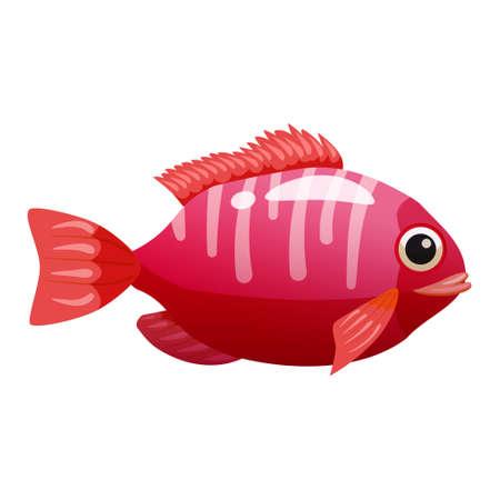 Tropical red fish, coral reef exotic pet animal. Aquarium sea life, vector illustartion cartoon style