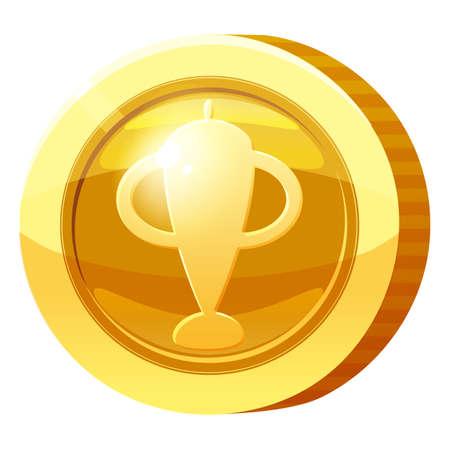 Gold Medal Coin Goblet symbol. Golden token for games, user interface asset element. Vector illustration